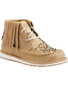 Ariat Women's Fringe Embellished Cruiser Chukkas - Moc Toe, Tan, hi-res
