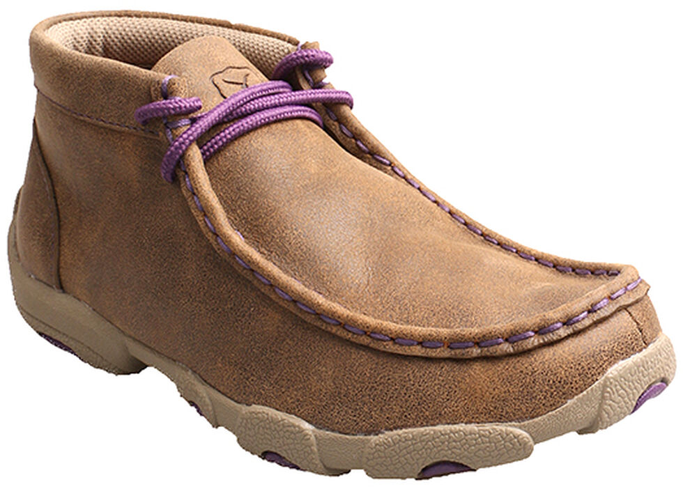 Twisted X Kid's Brown and Purple Driving Mocs, Bomber, hi-res