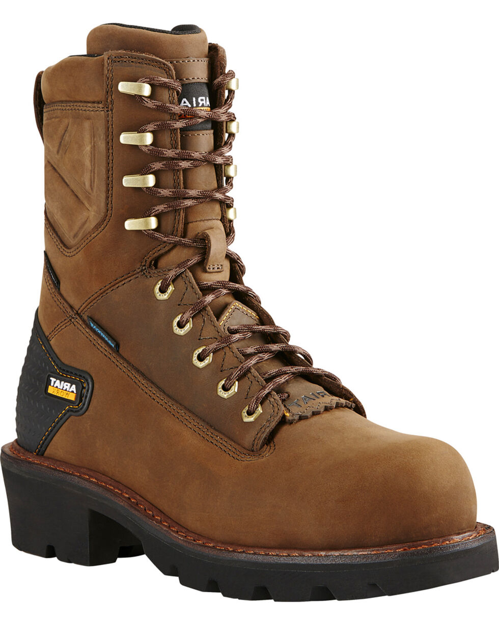 "Ariat Men's Brown Powerline H20 8""  Lace-Up Work Boots - Composite Toe, Brown, hi-res"