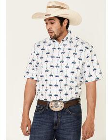 Rough Stock By Panhandle Men's White Buffalo Print Short Sleeve Western Shirt , Multi, hi-res