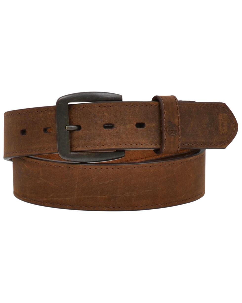 Georgia Men's Dark Brown Pebble Flat Edge Work Belt, Brown, hi-res