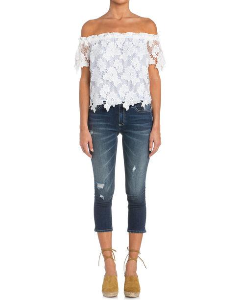 Miss Me Women's Floral Lace Off-The-Shoulder Top , White, hi-res