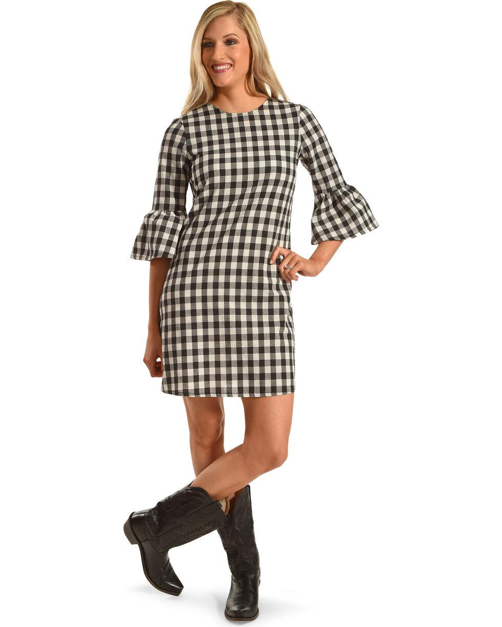 Ces Femme Women's Buffalo Check Flare Sleeve Dress, Black, hi-res