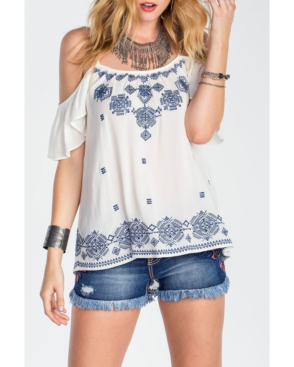 Miss Me Women's Ivory Open Shoulder Embroidered Top, Ivory, hi-res