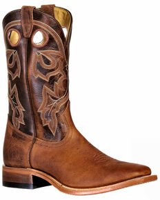Boulet Men's Wide Square Toe Western Boots, Brown, hi-res