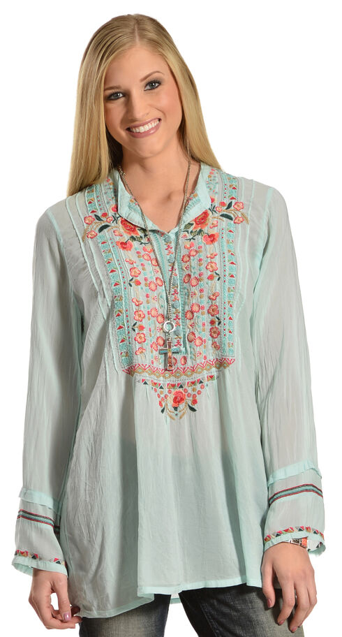 Johnny Was Women's Embroidered Blush Catra Tunic, Blush, hi-res
