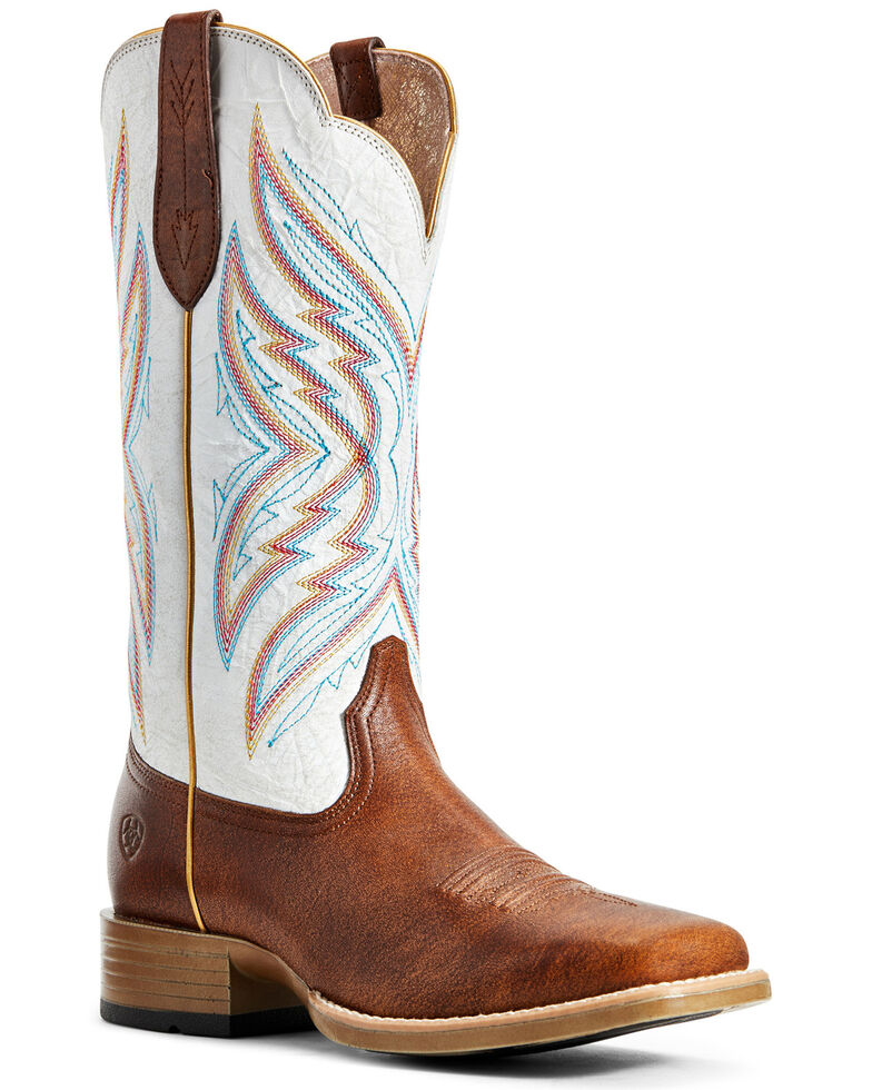 Ariat Women's Pinnacle Amber Western Boots - Wide Square Toe, Brown, hi-res