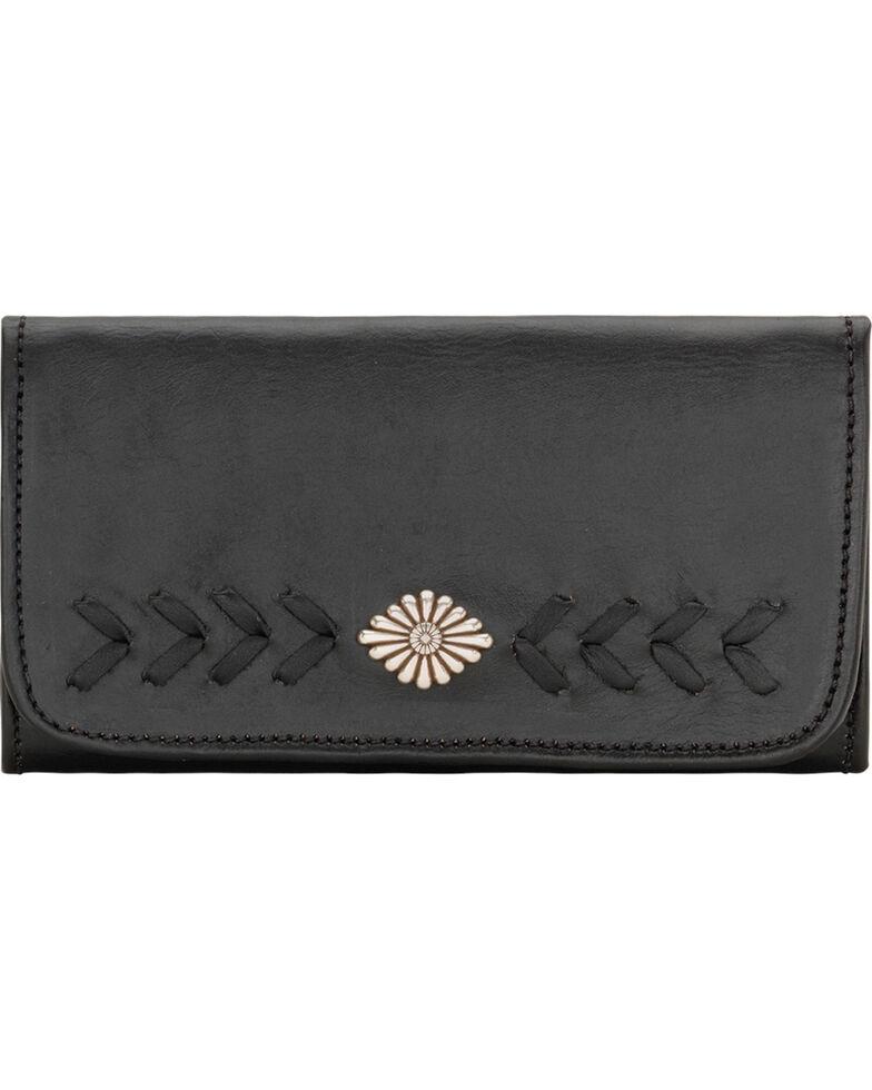 American West Mohave Canyon Ladies' Black Tri-Fold Wallet, Black, hi-res