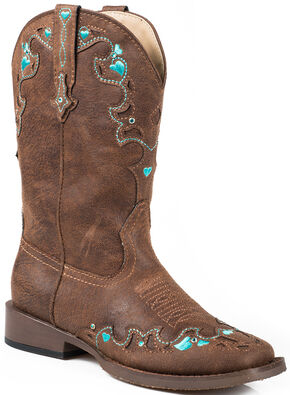 Roper Youth Girls' Vintage Crystal Cowgirl Boots - Square Toe, Brown, hi-res