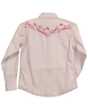 Cowgirl Hardware Girls' Snowflake Diamond Long Sleeve Western Shirt , Pink, hi-res