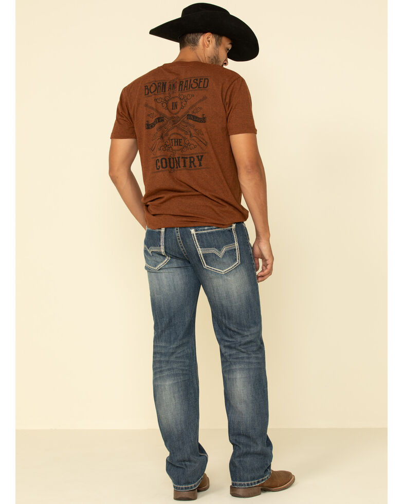 Rock & Roll Denim Men's Double Barrel Dark Straight Relaxed Jeans , Blue, hi-res