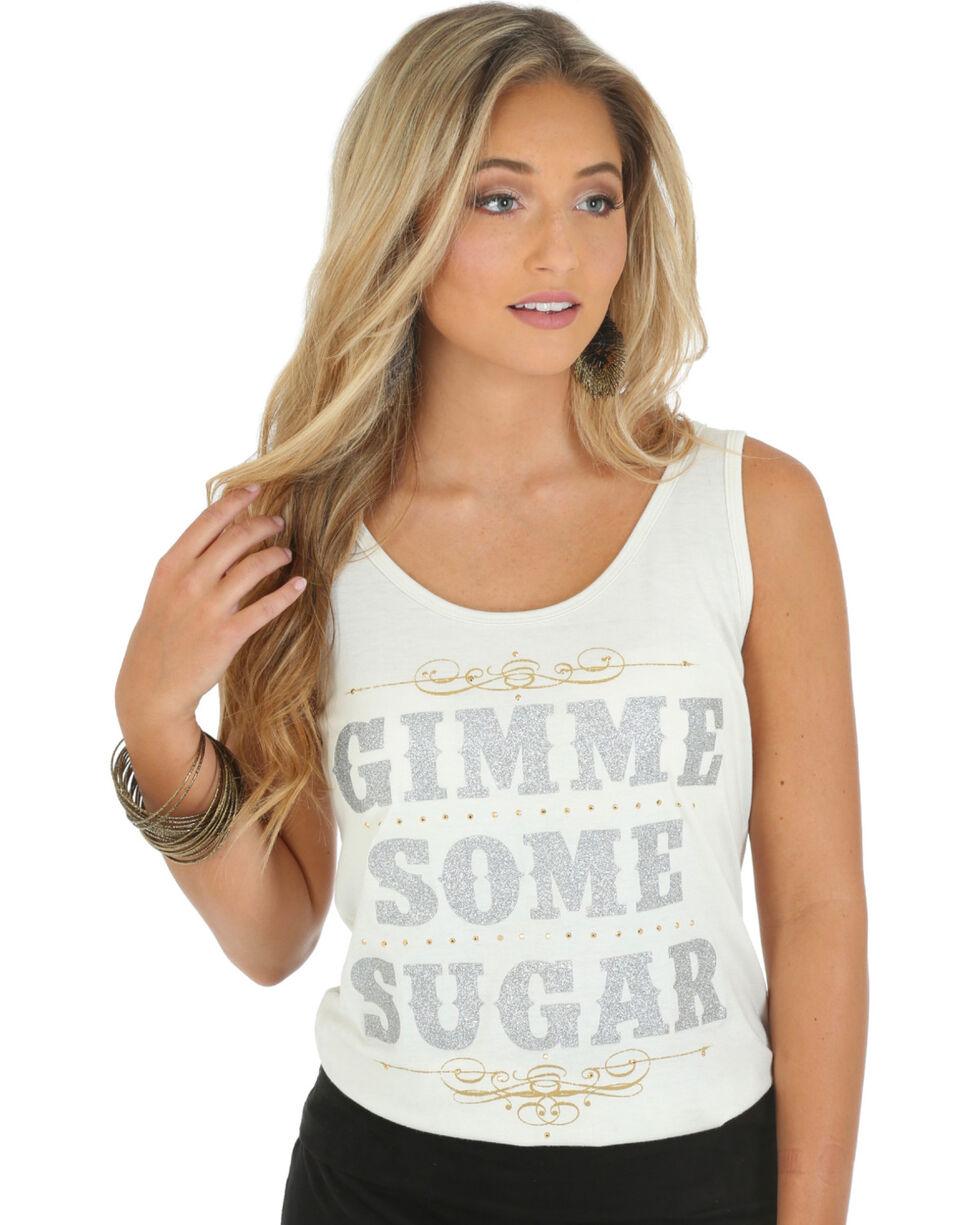 """Wrangler Rock 47 Women's """"Gimme Some Sugar"""" Tank Top, Cream, hi-res"""