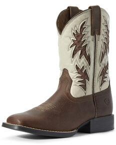 Ariat Boys' Cognac VentTEK Western Boots - Square Toe, Brown, hi-res