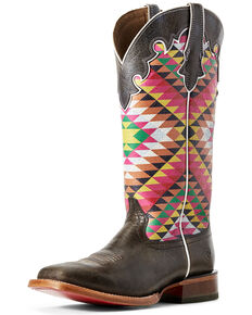 Ariat Women's Aztex Fonda Iron Western Boots - Wide Square Toe, Grey, hi-res