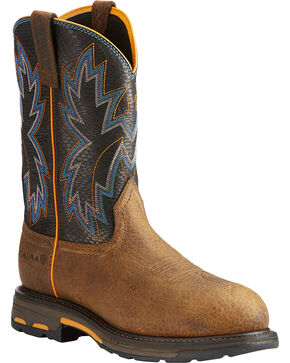 Ariat Men's Brown WorkHog Raptor Snake Print Boots - Round Toe , Brown, hi-res