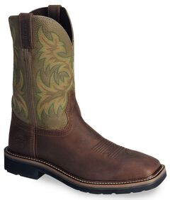 Justin Stampede Waxed Brown Western Work Boot - Square Soft Toe, Waxed Brn, hi-res