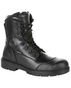 Rocky Men's Pursuit Waterproof Public Service Work Boots - Steel Toe, Black, hi-res