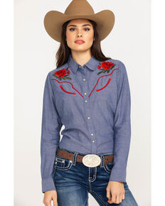 f9c3e9a98 Ariat Womens Real Lively Dark Denim Snap Long Sleeve Western Shirt, Blue,  hi-