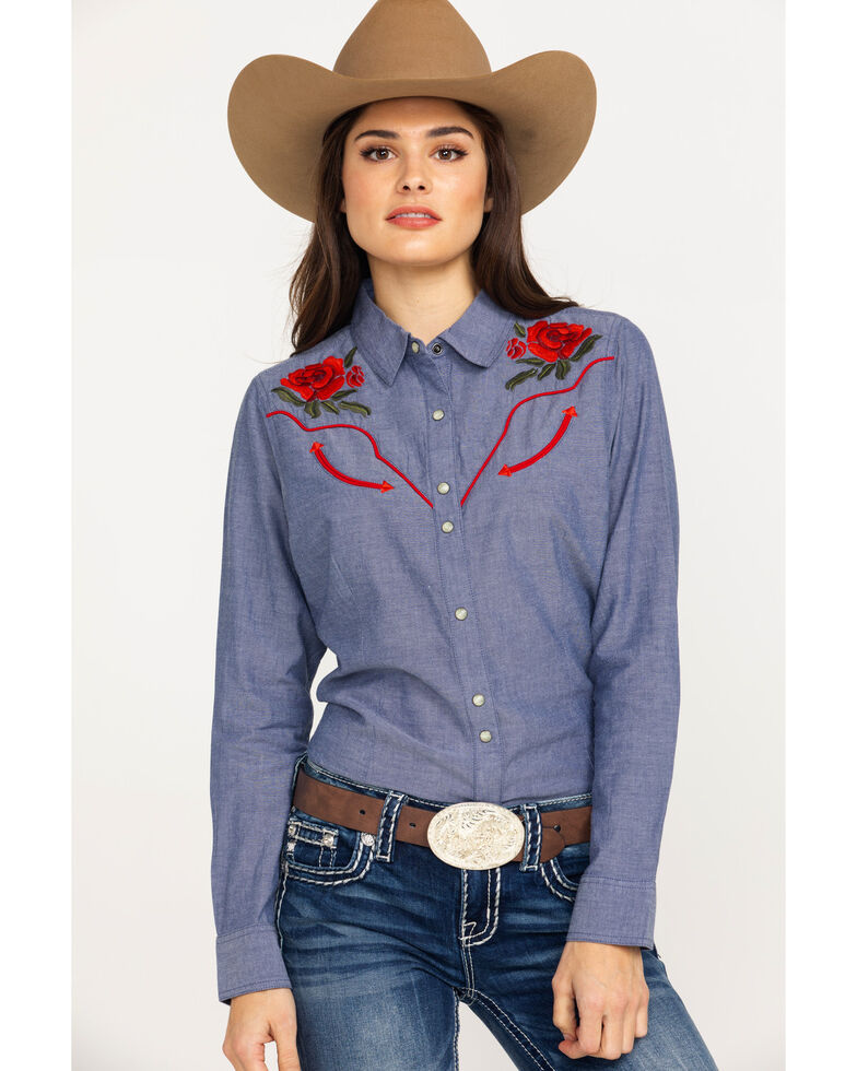 62a529ad Zoomed Image Ariat Women's Real Lively Dark Denim Snap Long Sleeve Western  Shirt, Blue, hi-
