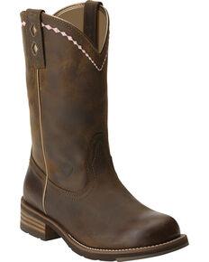 Ariat Women's Unbridled Roper Boots - Round Toe, Dark Brown, hi-res