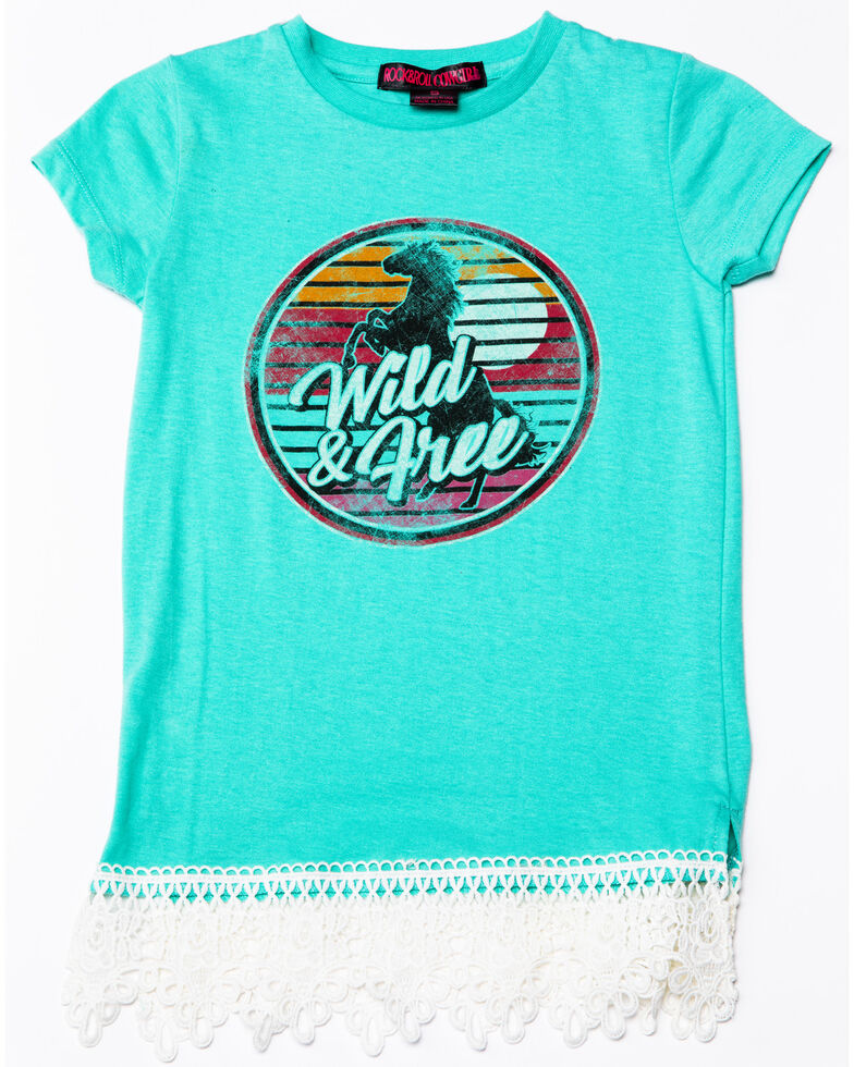 97c247c8 Zoomed Image Rock & Roll Cowgirl Girls' Wild And Free Sunset Horse Graphic T -Shirt ,