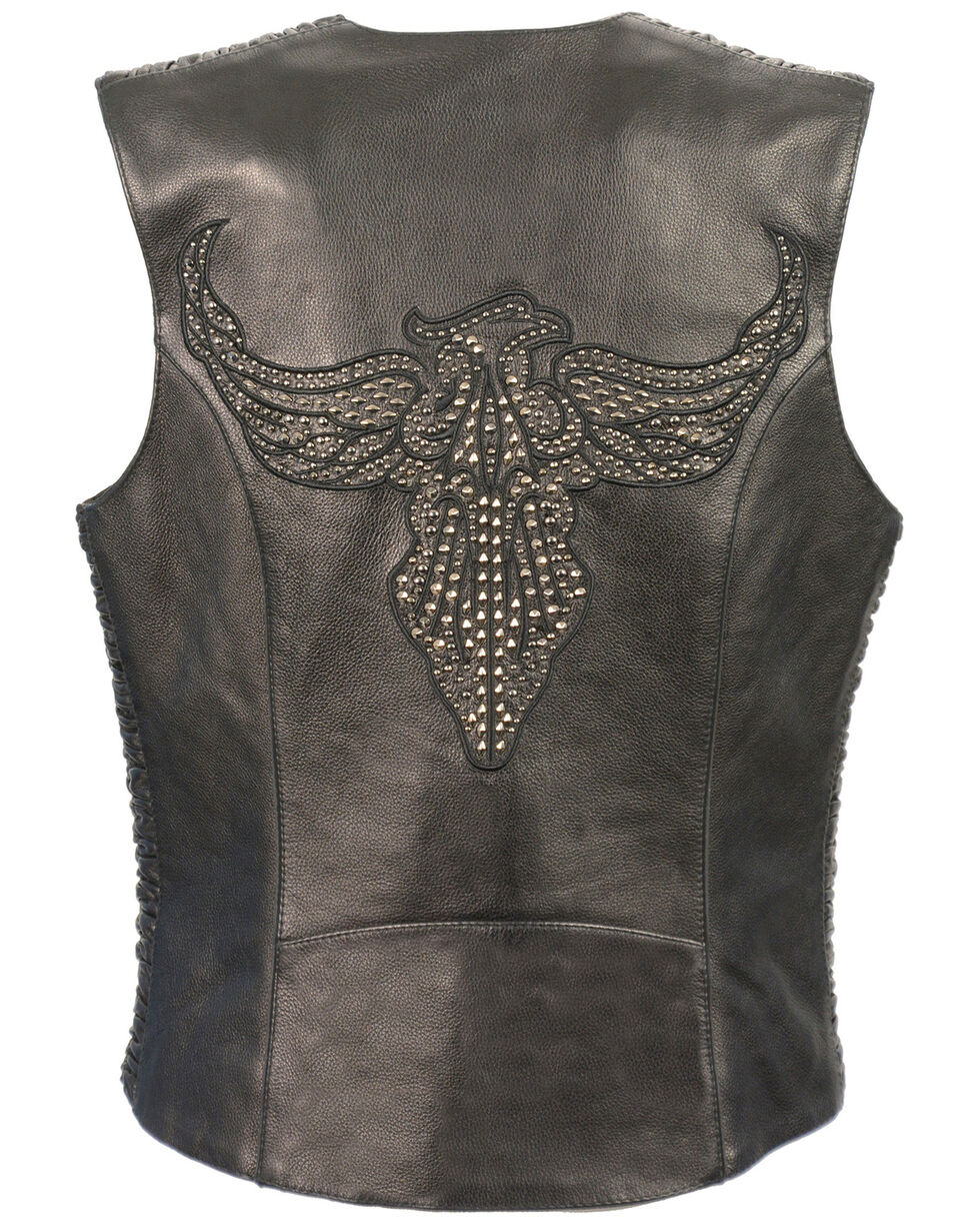 Milwaukee Leather Women's Phoenix Stud Embroidered Snap Front Vest - 4X, , hi-res