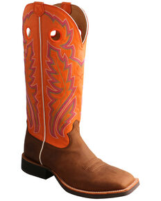 Twisted X Men's Buckaroo Western Boots - Wide Square Toe, Chocolate, hi-res