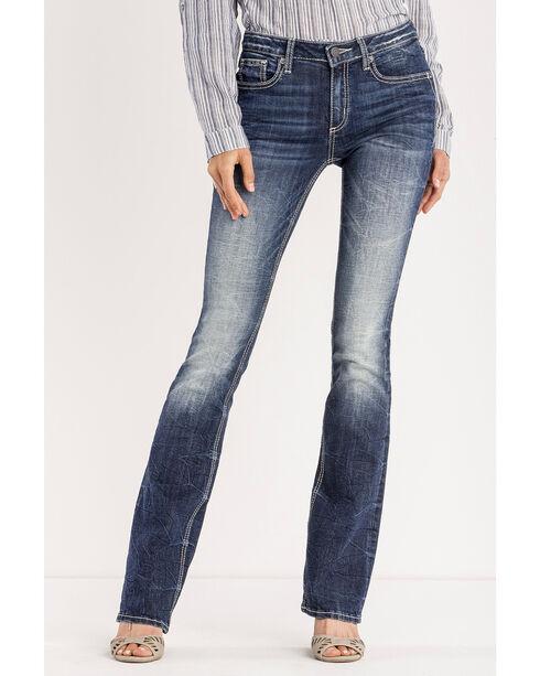 Miss Me Women's Indigo Floral Expression Jeans - Boot Cut , Indigo, hi-res