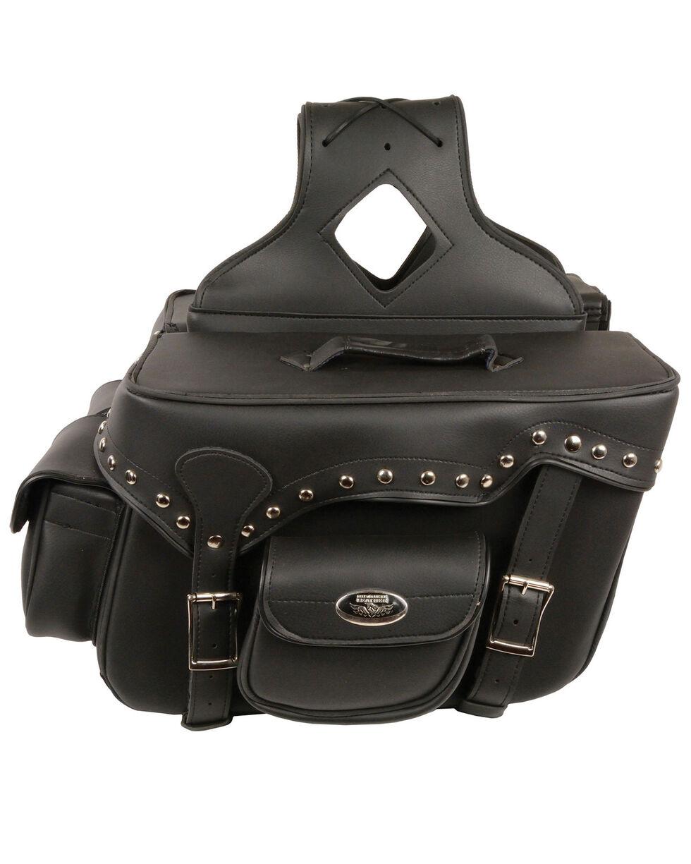 Milwaukee Leather Reflective Double Front Pocket Studded Throw Over Saddle Bag, Black, hi-res
