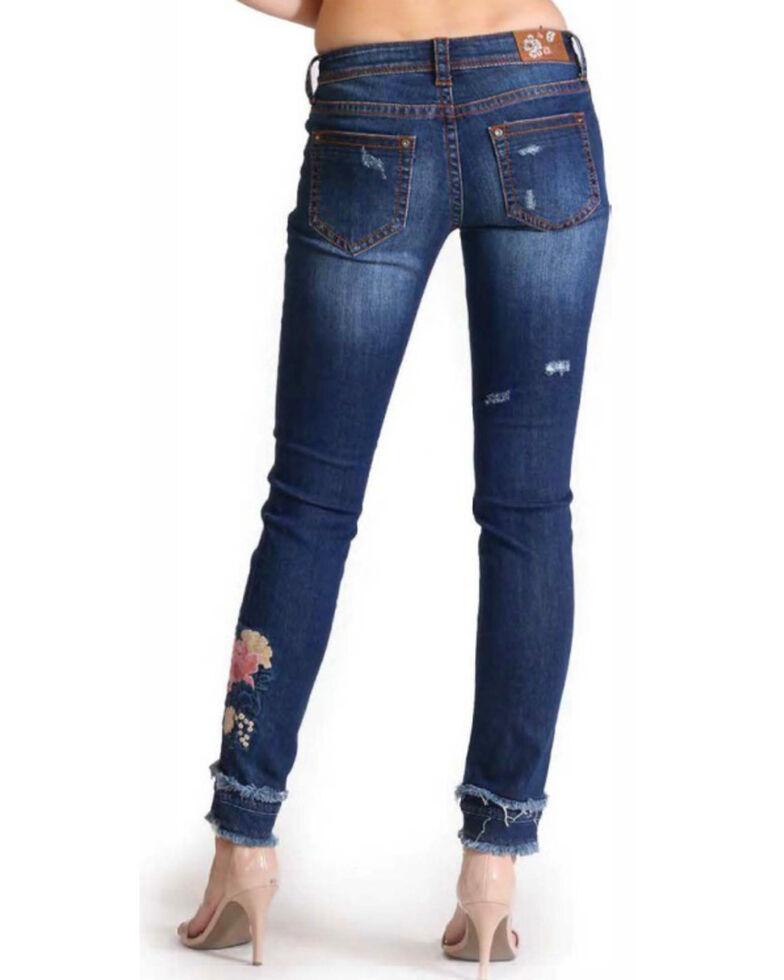 Grace In LA Women's Fray Hem Embroidery Leg Jeans , Indigo, hi-res