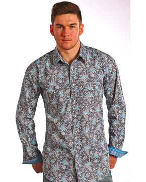 Rough Stock by Panhandle Slim Men's Floral Long Sleeve Shirt , Dark Grey, hi-res