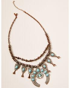 Shyanne Women's Crescent Bronze Squash Blossom Necklace, Rust Copper, hi-res