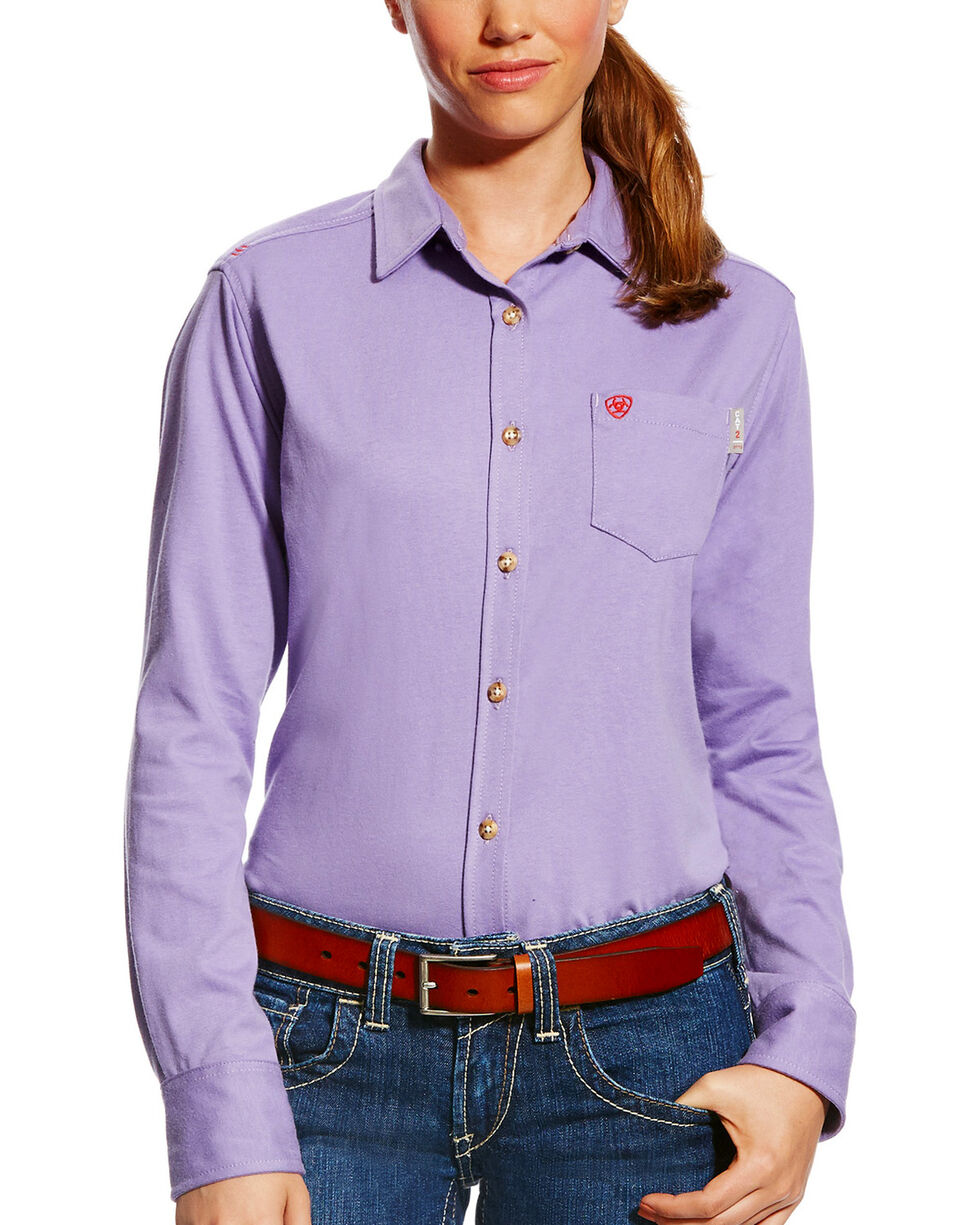 Ariat Women's FR Taylor Knit Work Shirt, Purple, hi-res