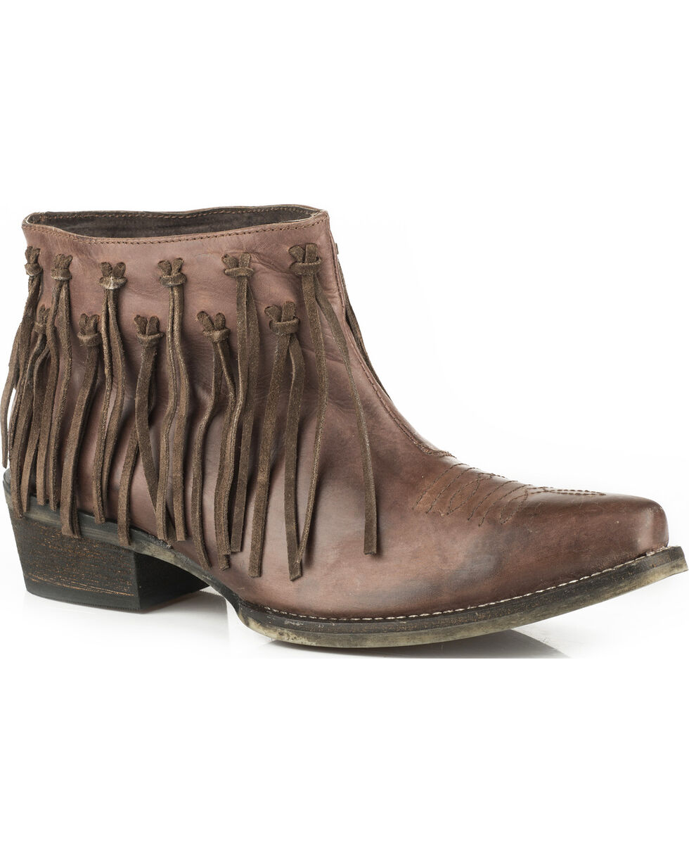 Roper Women's Brown Burnished Leather Fringe Western Boots - Snip Toe, Brown, hi-res
