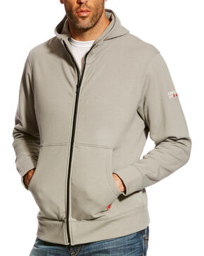 Ariat Men's Silver Fox FR Full Zip Hoodie, Silver, hi-res