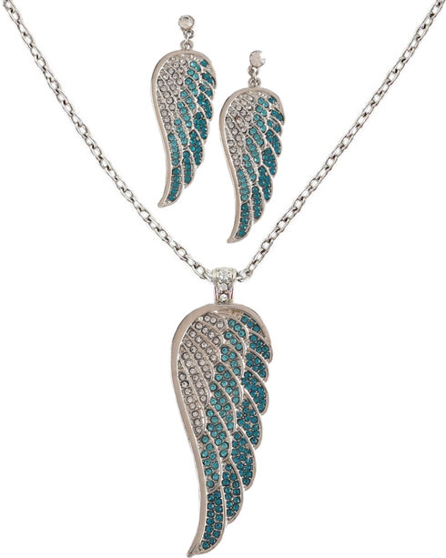 Shyanne Women's Multi Stone Feather Earring and Necklace Set, Silver, hi-res