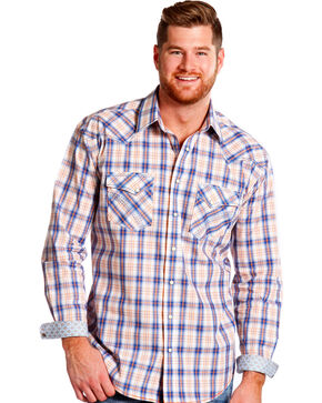 Panhandle Slim Men's Rough Stock Rockland Vintage Ombre Plaid Shirt , Royal Blue, hi-res