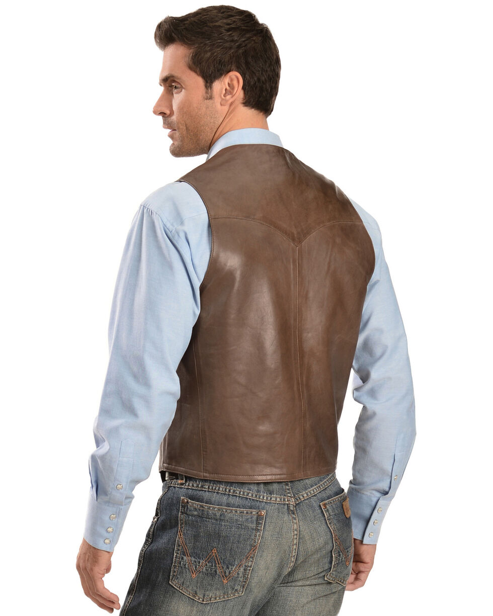 Scully Lambskin Leather Western Vest - Big & Tall, Chocolate, hi-res