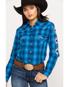 Rough Stock By Panhandle Women's Blue Plaid Aztec Embroidered Snap Long Sleeve Western Shirt, Blue, hi-res