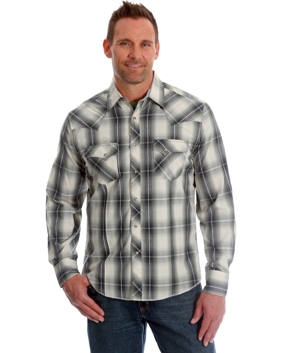 Wrangler Men's Olive Plaid Long Sleeve Fashion Snap Shirt, Cream, hi-res