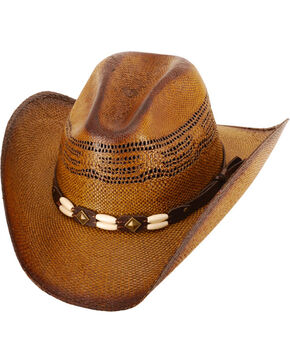 Western Express Kids' (S-XL) Brown Brockway Straw Hat , Dark Brown, hi-res