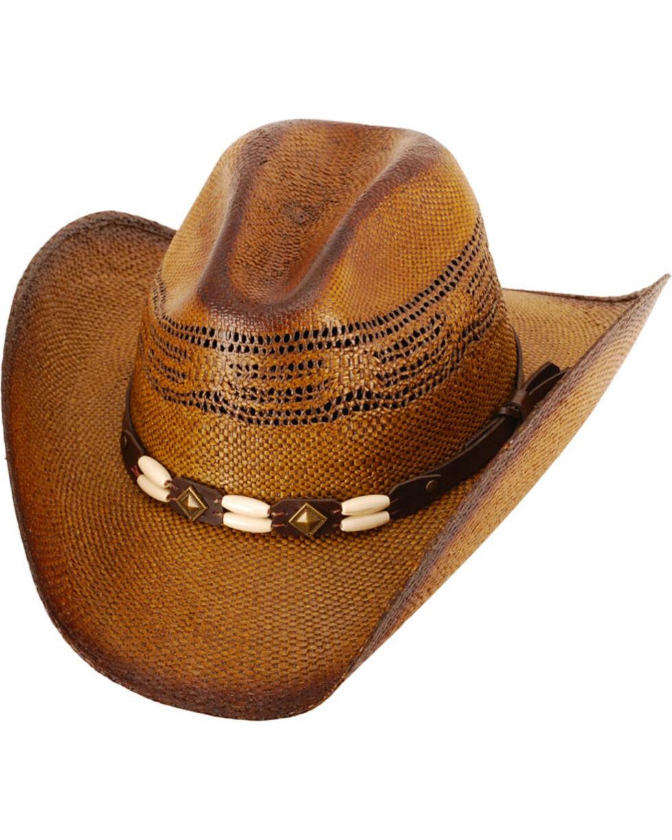 Western Express Brown Brockway Straw Cowboy Hat , Dark Brown, hi-res