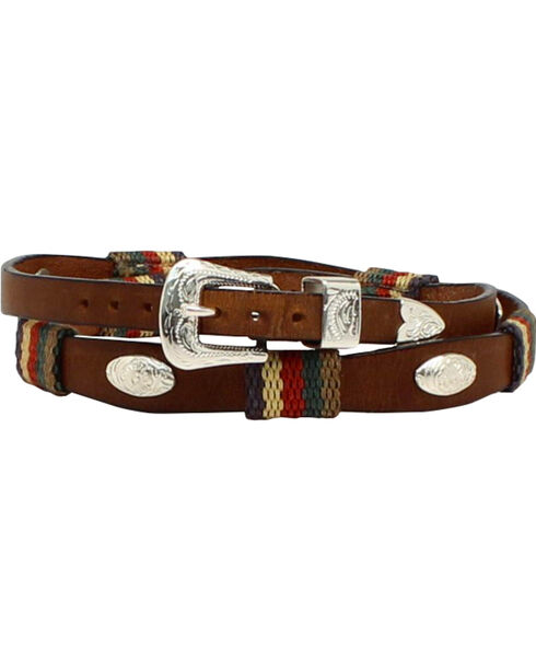 M & F Western Men's Striped Leather Oval Concho Hatband, , hi-res