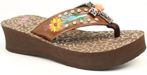 Blazin Roxx Juley Flip Flops, Brown, hi-res