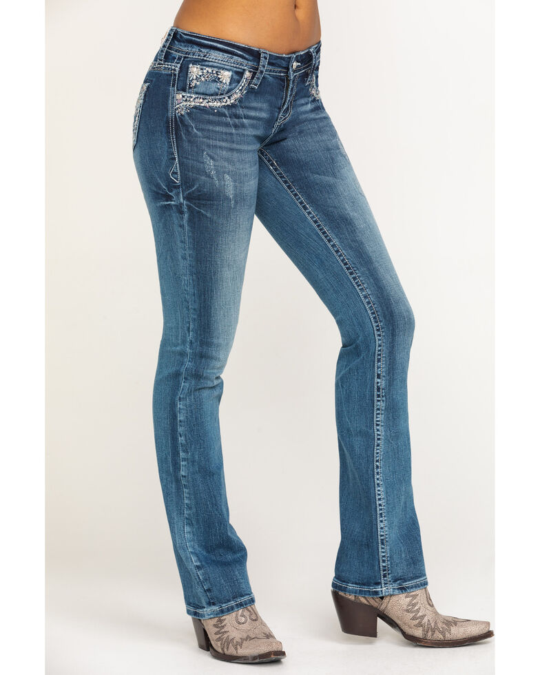 Grace in LA Women's Aztec Pocket Bootcut Jeans , , hi-res