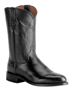 Lucchese Handmade 1883 Lonestar Calf Roper Boots - Round Toe, Black, hi-res