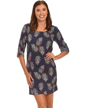 Rock & Roll Cowgirl Women's Long Sleeve Paisley Dress , Navy, hi-res