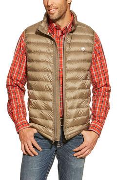 Ariat Men's Ideal Down Quilted Vest, Brown, hi-res