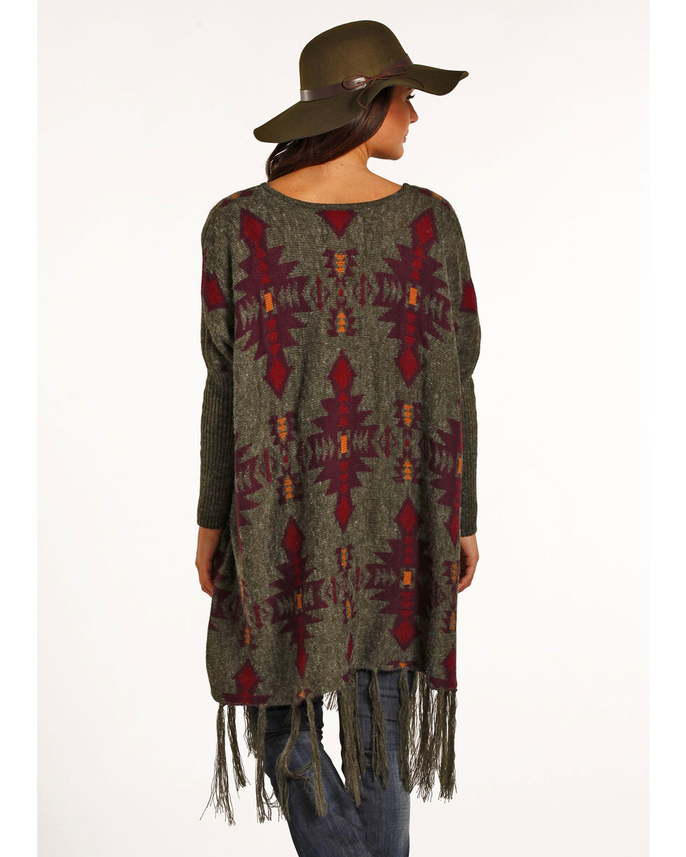Powder River Outfitters Women's Aztec Jacquard Poncho, Multi, hi-res