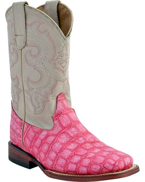 Ferrini Girls' Croc Print Western Boots - Square Toe, Pink, hi-res
